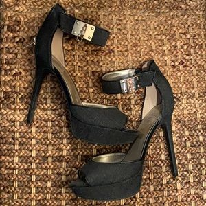 Denim ankle strap stiletto heels GUESS size 8